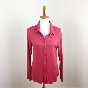 Anthropologie Postmark Red Ribbed Button Down